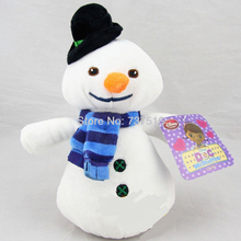 "New Cute Doc McStuffins 8"" Blue scarf Chilly white Snowman Plush Black hat Doll Winter Christmas Stuffed Toys Gift(China)"