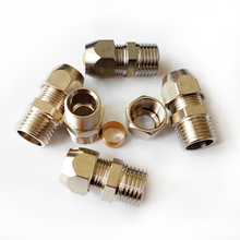"Pack of 5 1/4"" Male BSP *10mm OD Pneumatic Air Nickel Plated Brass Compression Fitting Male Connector BNPCF-MC-T10-1/4BSP"