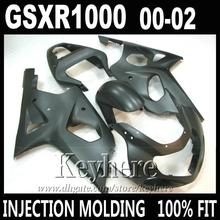 R4R Injection molding for SUZUKI GSXR 1000 fairings all matte black 2000 2001 2002 K2 GSXR1000 fairing kit 00 01 02 RE5