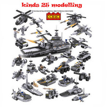 8 in 1 Aircraft Carrier Building Blocks Model Fleet Submarine Warship Military Naval Ship Compatible with Lego Cogo 13007