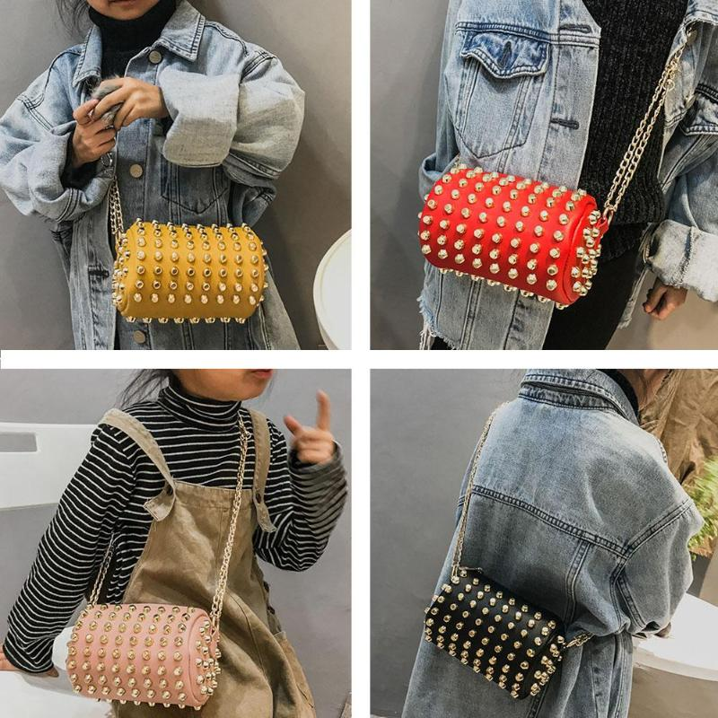3cbb1d0377a5 Women Children Rivets Chain Handbags Cylinder Zipper Girls PU Leather  Shoulder Bag Kids Messenger Wallet Purse Features