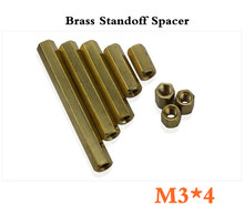New Best Promotion 500pcs/lot  M3*4mm Hexagonal Net Nut Female Brass Standoff/Spacer Long Lasting High Quality