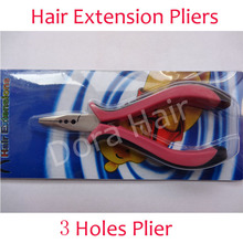 wholesale High-grade 3 holes plier for I-tip/stick tip&feather hair extensions Hair extension tools hair extension pliers(China)
