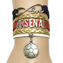 Drop Shipping Infinity Love Arsenal Bracelet-England Handmade City Team College Soccer Ball Charm Wrap Bracelet Gift(China)