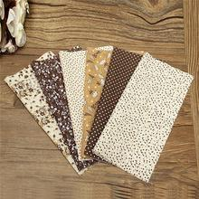"Bestt Price 6pcs 10"" Colorful Brown Floral Pre Cut Cotton Fabric Patchwork Cloth For DIY Tissue Sewing Baby Toy Quilting Textile"