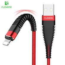 FLOVEME 1 M USB Cable For Lightning iPhone X 10 8 7 High Tensile Braid Charging Data Cable For iPod iPad 1 2 Charger Sync Cables(China)