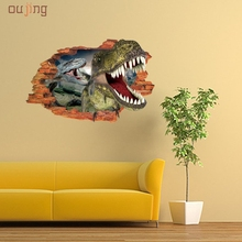 Oujing 3D Cartoon Wall Stickers Mural Dinosaur Decal Quotes Art Home Decor Happy Gift High Quality PVC Wall Stickers Home Decor