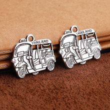 Vintage Silver Metal Car Charms Thailand Motorcycle Taxi Pendant Charms for DIY Handmade Jewelry Making 10pcs/lot 27*31mm C5120(China)