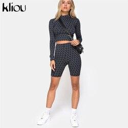 Kliou женский сексуальный спортивный комплект из 2 предметов, водолазка с длинным рукавом, укороченный топ, эластичные шорты с высокой талией, ...