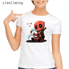 Buy Newest 2017 Funny Happy Deadpool T-Shirt Fashion Cartoon Printed T Shirt Women's Summer Novelty Harajuku Cool Tops Tee for $8.10 in AliExpress store