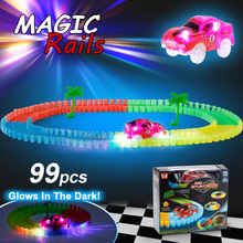 99PCS55mm Twisted Tracks with 2 Car Glowing Race Car Twister Track LED Flashing Light Tracking Rail Glow in the Dark for Kids(China)
