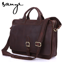 Retro Crazy Horse Leather Bag Leather Briefcase Tote Bag Vegetan Leather