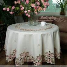 Rustic cloth embroidery embroidered dining table cloth tablecloth round table cloth cutout cover towel rose