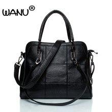 WANU Leather luxury Handbags women bags Sheepskin Female Shoulder Bag Black  Totes Top-handle Bag For Wife Ladies Mother gift aa6ef580c36c4
