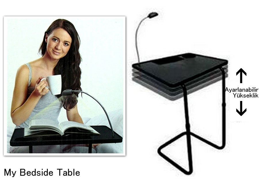 Wholesale LED Lamp Adjustable height Laptop desk Portable Bedside Table Small coffee table<br>