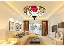European Tiffany 8/12/16 inch retro Glass Mediterranean style pastoral Red/Pink Rose Ceiling Light luminaria For Home Decoration