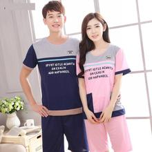 Pajamas Set Women and man short sleeve summer spring two pieces Pajamas Nightgowns cute pajamas sleepwear Casual Nightwear M-XXL(China)