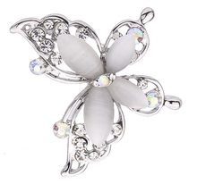 New Fashion Clear Crystal silvery jewelry Butterfly Brooch Pin Jewelry For Women Free Shipping(China)