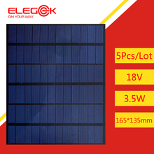 ELEGEEK 5pcs 3.5W 18V Solar Cell Panel Polycrystalline Silicon DIY Solar Cell 165*135mm Mini Solar Cell for DIY and Solar System