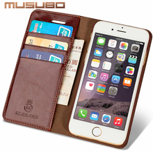 Musubo Leather Case For iPhone 7 Plus Luxury wallet phone bag Cover for iphone 6 Plus 6s Plus 5 5s SE 4 4s flip cases capa coque
