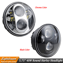 5.75 Inch Round 40W Daymaker Projector LED Headlight Black or Chrome sealed beam for Harley Davidson Motorcycles x1pc free ship