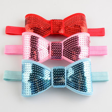 20pcs girls 6cm sequin bow headbands silver white red black purple royal blue sparkly bows on stretchy head bands