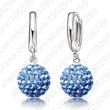 PATICO Hot Sale Multi Colors 1 Pair Real Pure 925 Sterling Silver Austrian Pave Disco Ball Hoop Lever back Earring Woman Jewelry