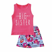 Puseky Lovely Big Sister Outfits Sleeveless Pink Color Vest Top Striped Flower Printing skirt 2Pcs Summer Kids Girls Cloth Sets