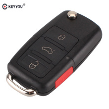 KEYYOU Folding 4 3+1 Buttons Car Remote Flip Key Shell Case Fob For Volkswagen Vw Jetta Golf Passat No Blade