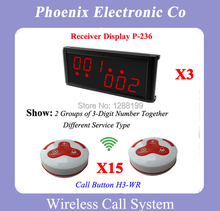 Wireless Restaurant Paging System With 15 Bells H3-WG 3 Wireless Display P-236 Quality Guaranteed(China)