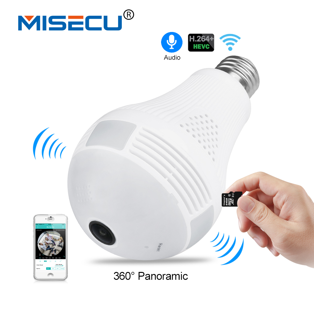 MISECU 5.0MP 3.0MP 1.3MP 360 degree VR Audio 128GB slot Wireless IP Camera Bulb Wi-fi FishEye Home Security WiFi Camera security<br>