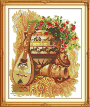 Clay pot and guitar cotton cross stitch kits 14ct white 11ct print on canvas embroidery set sewing hand made crafts home decor(China)