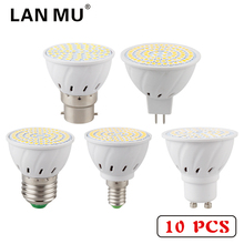 10 PCS E27 E14 MR16 GU10 B22 Lampada LED Bulb 110V 220V Bombillas LED Lamp Spotlight 48 60 80 LED 2835 SMD Lighting(China)