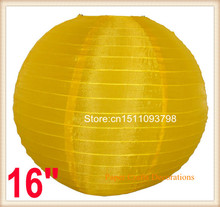 10pcs/lot 16inch (40cm) Chinese/Japanese Round Silk Cloth Lantern Even Ribbing For Party Outdoor Decorations Free Shipping