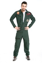 80s Mens Adult Green Aviator Fancy Dress Costume Boiler Suit Pilot Top Gun High quality free shipping(China)