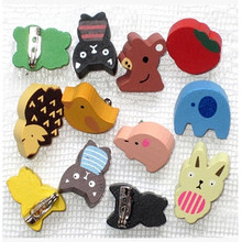 12pcs/lot Wood cartoon animal brooch,kids Children's Early Learning creative gifts educational toys/Safe wooden toys elephant(China)