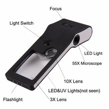 6 in 1 LED Pocket Magnifier 3X 10X 55X Magnifier Microscope Loupe and UV Light Watch Repair Tool 11.5 X 4 X 2.5cm