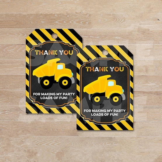Personalized CONSTRUCTION Thank You Tags,Dump Truck Gift Favor tags, chalkboard Thank you Tags,Birthday party decorations kids(China (Mainland))