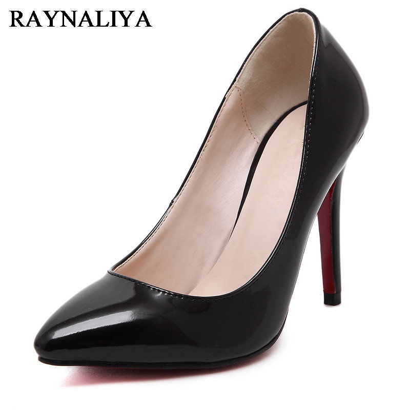Size 35-42 Classic Black White Red Patent Leather Pointed Toe Women Pumps 10cm High Heels Fashion Woman Dress Shoes WZ-A0019<br>