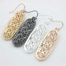 4 Colors 2017 Hot New Brand Designer Inspired Hollowed Dangle Drop Earrings for Women Monogram Drop Earrings(China)