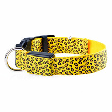 Fashion Leopard LED Dog Collar Flashing Nylon 3 Mode Lighting Safety Pet Collar Luminous Pets Accessories FP8