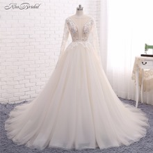 Sexy Backless Wedding Dresses Vestido de Noiva 2017 A Line Scoop Neck Long Sleeve Bead Lace Appliques Bridal Gown Robe de Mariee(China)