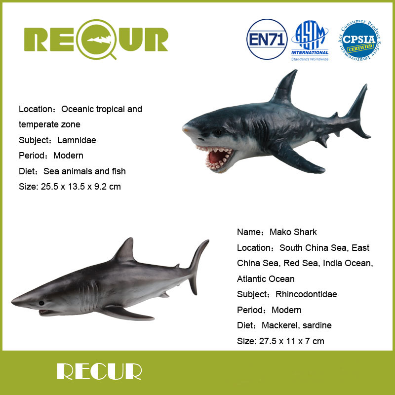 2 Pcs/Lot Recur Mako Shark+Great White Shark Model PVC Hand Painted Marine animal Action Figures Toys Gift Collections For Kids(China)