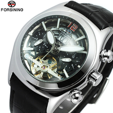 Unique watches Men Luxury Brand Skeleton Face Flywheel Automatic Mechanical Wrist watch Clock Men Leather Montre Homme Hodinky(China)