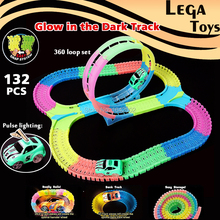 Glow race track Flexible Assembly Track Spinning 360 stunt Loop Colorful bright Flash in the Dark Electric Track with Led Car