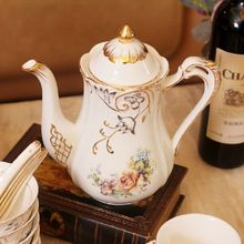 Porcelain teapot bone china flowers design embossed handpainted outline in gold coffee pot a pot for tea or coffee