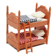 KiWarm Cute 1 Set Miniature Dolls House Furniture Bunk Bed Figurines Ornaments for Home Kids Room Decor Toy Doll Christmas Gift(China)