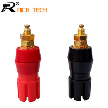 Gold Plated Copper adaptor 2PCS Large Current Amplifier Audio Terminal 4mm Banana Socket Brass Binding Post Connector(China)