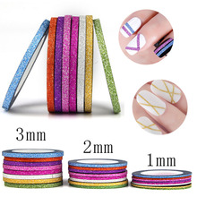 8pcs Vinyl Nail Sticker Scrub Striping Tape Liner Nail Art Tips Decoration DIY Manicure Nail Decals Strips Roll Mix Colors 1-3mm