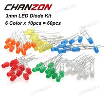 CHANZON 60pcs (6 colors x 10pcs) White Red Green Blue Yellow Orange 3mm 20mA Diffused Light-Emitting Diode LED Lamp Assorted Kit
